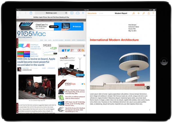Funkcja podzielonego ekranu dla iPada w iOS 8.0