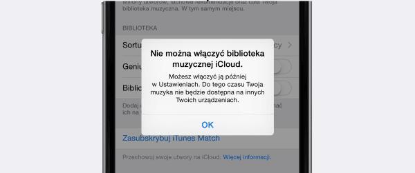 Problem z włączeniem biblioteki muzycznej iCloud