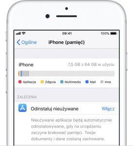 Zwalnianie miejsca iPhone