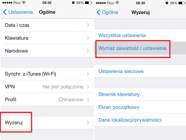 Ustawienia fabryczne iPhone