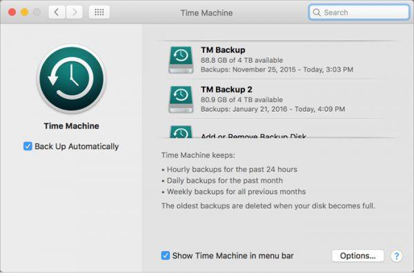 Time Machine MacOS Automatyczny backup