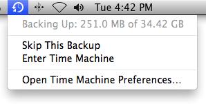 TimeMachine MacOS menu bar