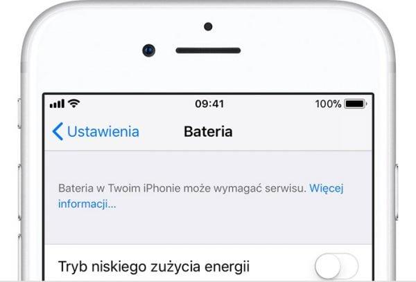 Ustawienia baterii iPhone