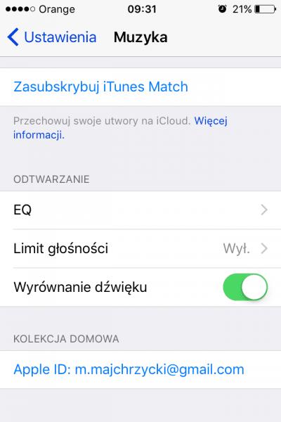 Wyłączanie equalizera iPhone