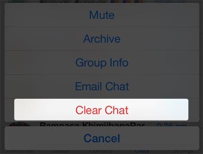 Jak usuwać rozmowy WhattsApp