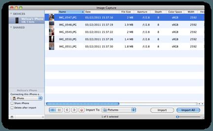 Image Capture na MacOS